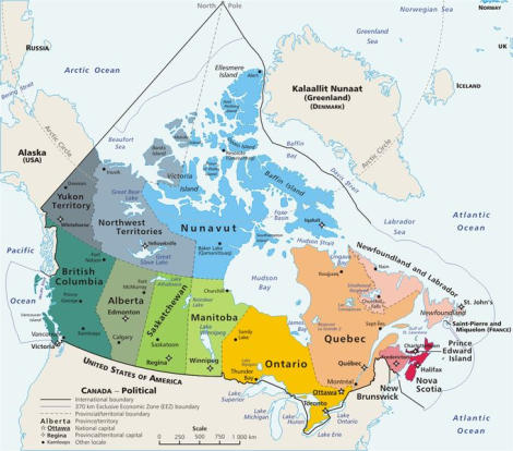 mapa politico de canada