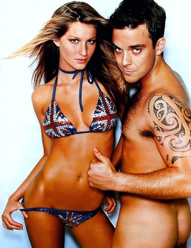 Gisèle bunschen & Robbie Williams by Mario Testino