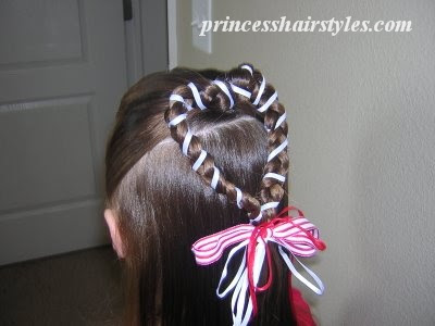 valentines ribbon hairdo
