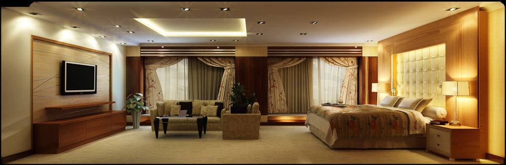 Modern-contemporary-romantic-bedroom-home-interior-design-idea-with-luxury-comfortable-bed-design-and-with-elegant-living-area.