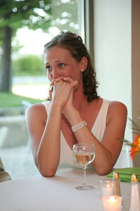 Ellie is brought to tears by her brother's toast at her wedding in the Harbor Lights room