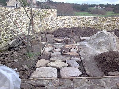 Domorustic restauraciones hacer camino de piedra paso a paso - Como hacer una pared de piedra y cemento ...