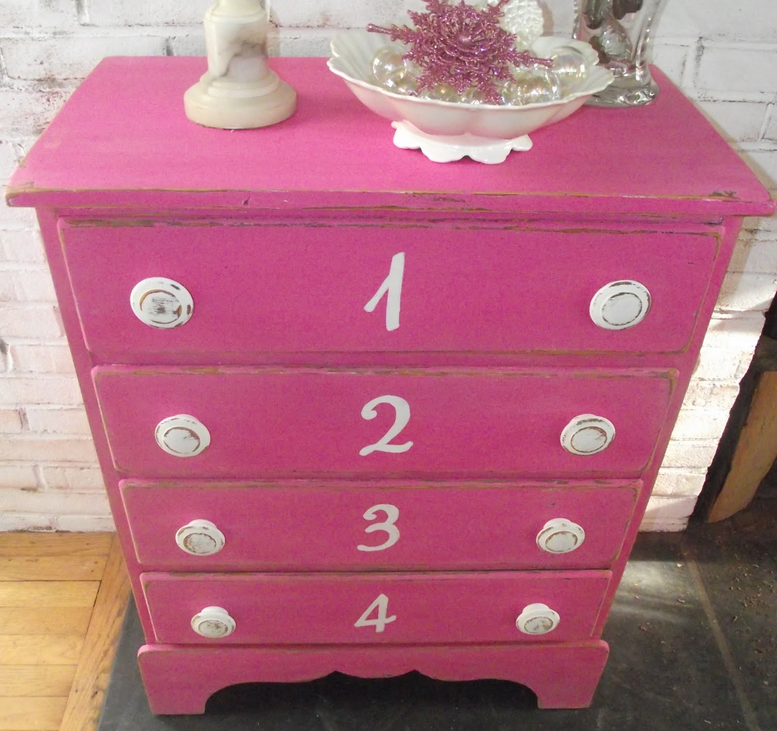 Hot Pink Shabby Chic Number Dresser