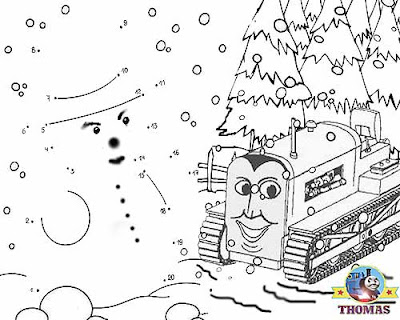 Free kindergarten connect the dots game for childrens education with Thomas Terence and the snow man