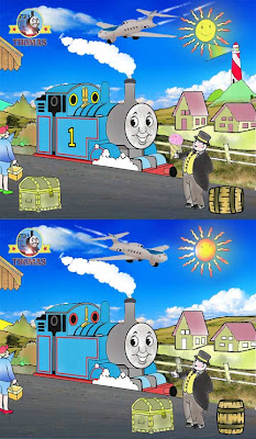 Free spot the difference games for children Thomas and the tank engine character Jeremy jet plane