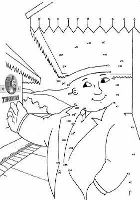 kindergarten Thomas dot to dot train kids puzzle online
