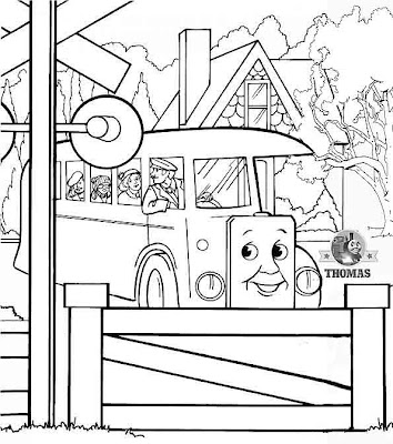 Kids Art online free Thomas tank coloring pages with red Bertie bus and the school children sheets