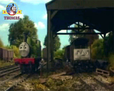 Toad the brake van and Oliver the tank engine friends in the railway shed chatting about scruffey