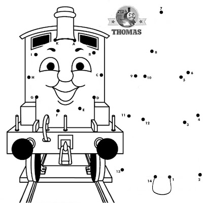 Sodor railways little blue train Thomas engine friends dot to dot printable for kids fun activities