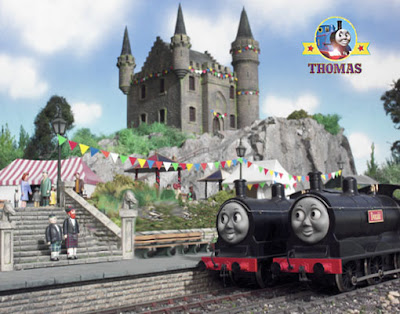 The twin tank engine Donald and Douglass out side Lord Callan Scottish castle loch grand celebration