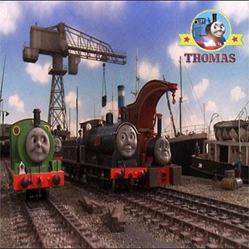 The sunny seaside Brendam docks in Sodor bridge bay with talking Percy train and Crane Harvey train