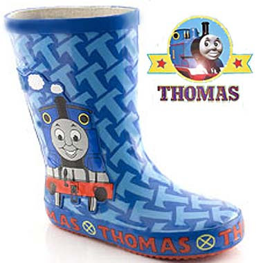Strong durable trendy boots with tough rubber soled bottoms Thomas the train footwear for children