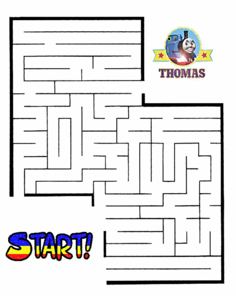 Printable Thomas tank maze labyrinth game online for kids learning fun