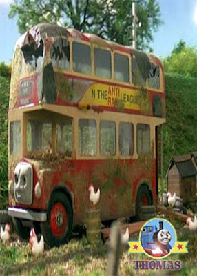 Red Bulgy the Double Decker Bus Rides Again is turned into a hen house after a Sodor bridge accident