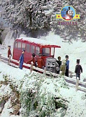 Red Bertie bus appears to save Thomas the trains winter soft snow stranded railway line passengers