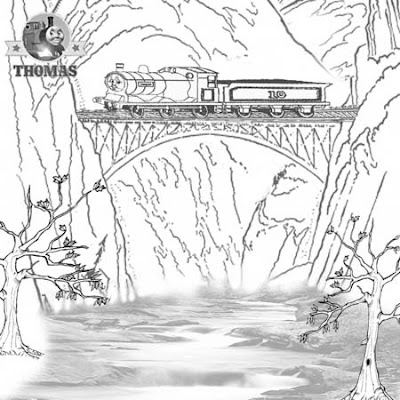 5 Scottish railway train Douglas tank engine crossing a old wooden bridge preschool coloring sheets