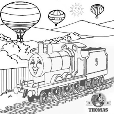 2 Tank engine James and the red balloon ride with hot air balloon coloring page childrens activities