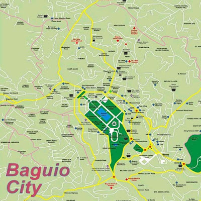 Philippines Luzon the Baguio map with the green Burnham Park in the center of the mountain city