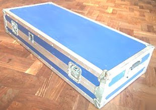 blue coffin style flight case