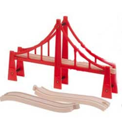 A red color brio thomas wood road bridge pic