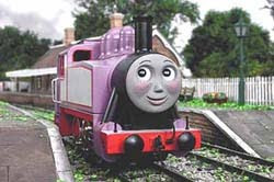 Rosie tank engine is standing outside the sunny Island of Sodor train station in Tidmouth