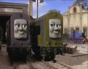 Splatter and Dodge diesel trians outside the roundhouse shed