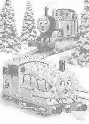 Green Percy engine number 6 and in the Christmas snow number 1 Thomas colouring free printable sheets