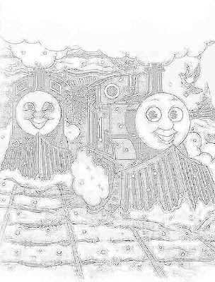 Christmas Thomas in the snow train steam engine colouring clip art