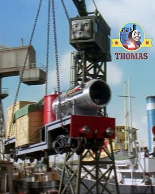 Brendam dock cranky the crane with Thomas and the jet engine