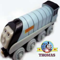 Learning curve take along Thomas and friends Spencer the silver engine wooden playset express train