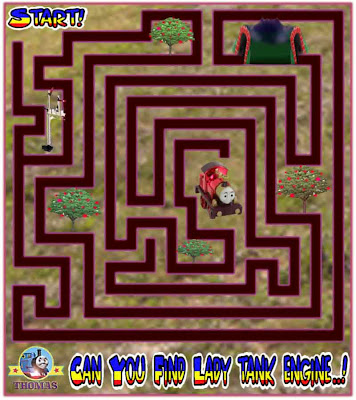 Free online printable maze game childrens puzzles with the magic railway train lady the tank engine