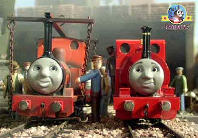 Thomas and friends Skarloey train with noble old Rheneas the tank engine in the railway sidings