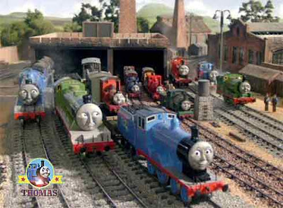 Fearless Freddie Granpuff and Sir Handel narrow gauge engines with noble old engine Rheneas train