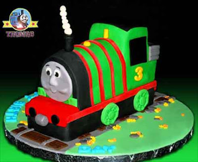 Delicious vanilla sponge green Percy train cake birthday celebration decoration butter icing ideas
