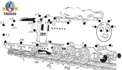 Print out sheet game Thomas and friends Neville the train dot to dot coloring pages for children