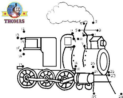 Tricky fun brainteaser Sodor railway old steam locomotive Thomas the train dot to dot for kids game