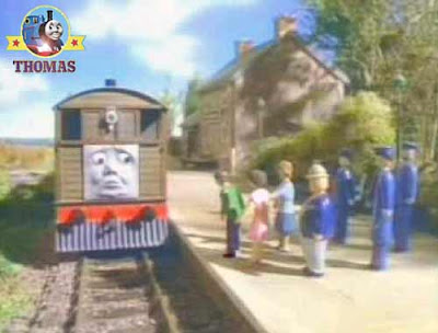 Toby the tank engine southern railway guard blows his train whistle for the stout gentleman fun ride