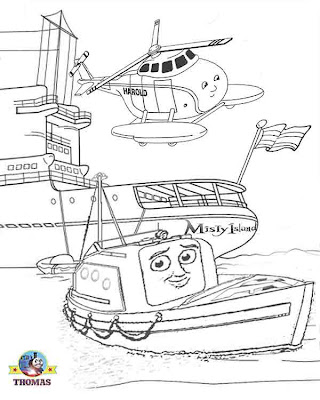 Thomas the tank engine coloring pages captain and Harold helicopter Thomas misty island rescue movie