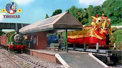 Station platforms Thomas Percy and the dragon theme design for the childrens carnival costume party