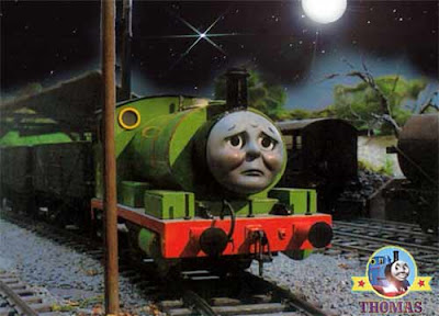 Percy the tank engine wishes Thomas and friends from the wooden shed roundhouse were here this night