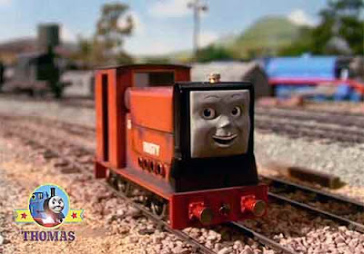 Sodor railway narrow gauge Skarloey locomotive diesel Trusty Rusty the tank engine in the siding