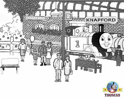 Free kids print out friends and Thomas the train coloring pages with Thomas Knapford station house