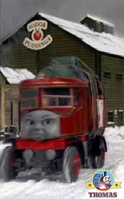 The old Sodor traditional Christmas pudding cake factory Elizabeth lorry carton trailer stacked up