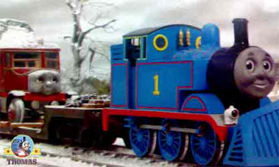 Wintry voyage back Thomas set off along the railways colorless ice-covered frozen tracks of Sodor