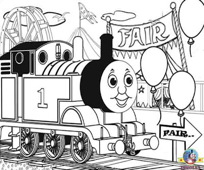 Junior railway train art printable Thomas the tank engine coloring pictures of Thomas and fairground