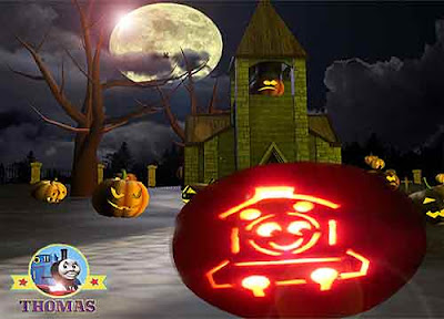 Thomas the tank engine haunted house and amazing pumpkin carving light Scary Halloween decorations