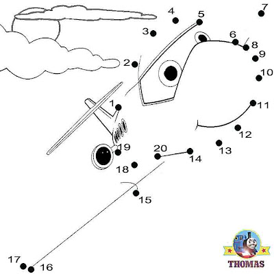 Fun online worksheets Sodor Jeremy the jet plane Thomas and friends dot to dot printables for kids
