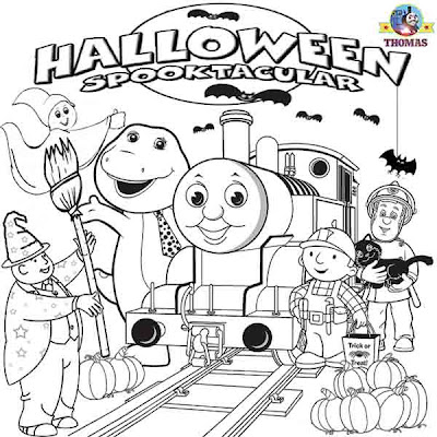 Thomas coloring book pages for kids Bob Builder Barney dinosaur fireman Sam Casper friendly ghost