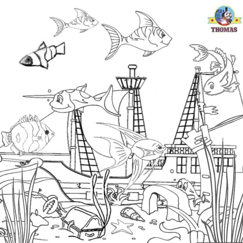 Ocean sea life aquarium tropical fish coloring book pages for children  title=