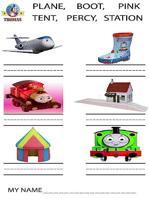 Thomas the tank engine printable worksheets handwriting for kindergarten and pre-school playgroups
